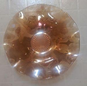 Vintage Orange Blood Carnival Glass Bowel 12×12in